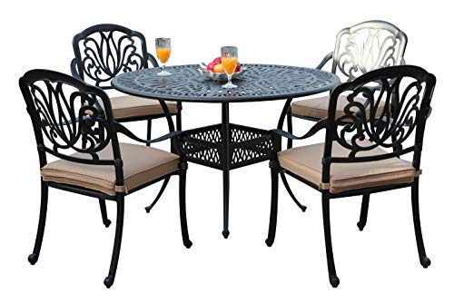 GrandPatioFurniture.com CBM Patio Elisabeth Collection Cast Aluminum 5 Piece Rosedown Dining Set with 4 Arm Chairs SH256-4A CBM1290