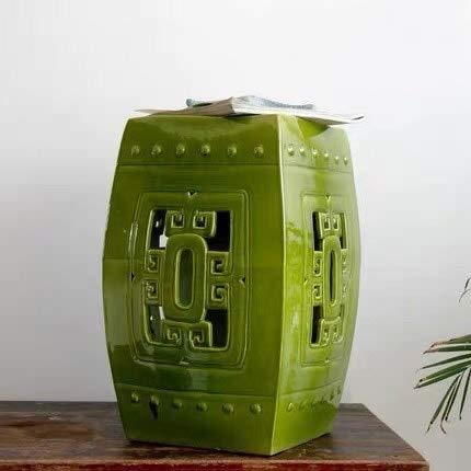 Fine Asianliving Keramiek Kruk Porselein Chinese Tuinstoel Zen Groen D33xH45cm