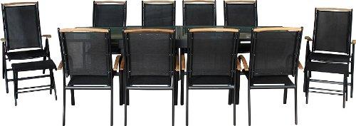 IB-Style - Salon de Jardin de première Classe Diplomat-XL | 11-Pieces | Noir - Noir - Teck | Grande Table rallonge 135-270 cm | Ensemble Terrasse Meubles de Jardin Chaise Table alu