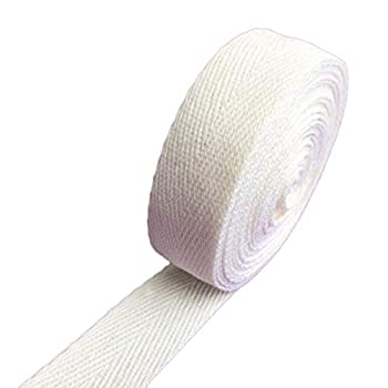 1  Inch X 5yards Cotton Strap Webbing Off White Beige Herringbone Pattern Handle Tote Bag Purse Luggage Belt Strapping - Fabric Twill Tape Ribbon Sewing DIY Gift Wrapping Home Decoration
