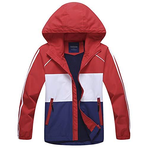 G-Kids Jungen Wasserdicht Jacke Übergangsjacke Regenjacke mit Fleecefütterung Kinder Warm Winddicht Atmungsaktiv Wanderjacke Softshelljacke Outdoorjacke - Rot - 128/134(Etikette:L)