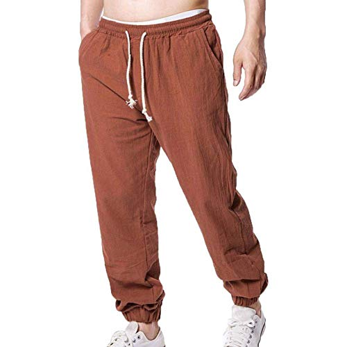 MorwenVeo Men's Linen Pants Fashion Jogger Pants - Breathable Lightweight Yoga Beach Trousers Hip Hop Street Pants - 4 Colors Brown