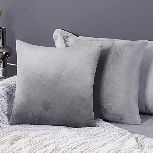 Deconovo Fundas para Cojines de Almohada del Sofá Cubierta Suave Decorativa Protector para Hogar 2 Piezas 50 x 50 cm Gris