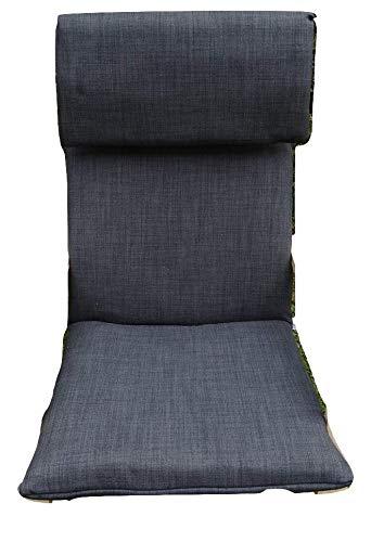 Kissen FÜR SCHAUKELSTUHL Typ Pello oder Poang IKEA. Hergestellt aus hochwertigem Polsterstoff. Sitz 57 x 50 Rücken 57 x 70, 8 cm dick (Anthrazit)