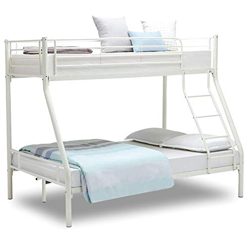 Bunk Beds For Kids Bunk Bed 4 Feet 6 Inch Triple Bunk Bed Solid Grey Metal Bunk Bed Frame Bedroom Home Sleep For Kids/Adult Children Bed Frame With Stairs