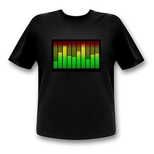 10-Kanal Equalizer LED T-Shirt Fun Party Shirt Mann (l)