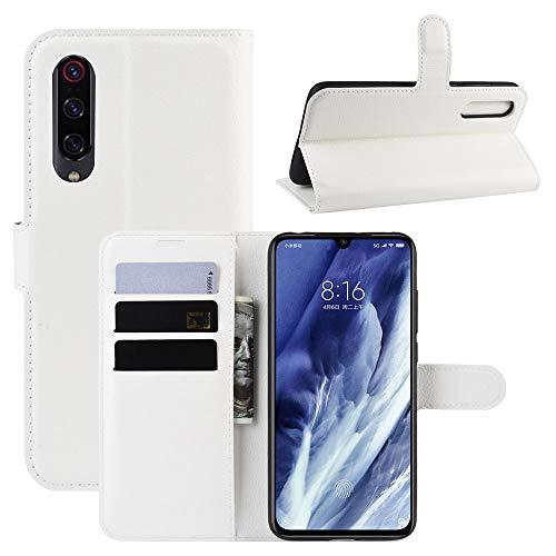 FanTings Capa para Xiaomi Mi 9 Pro 5G Flip Case, com compartimentos para cartão, capa carteira de couro sintético premium, antiarranhões, fecho magnético, recurso de suporte, para Xiaomi Mi 9 Pro 5G - Branco