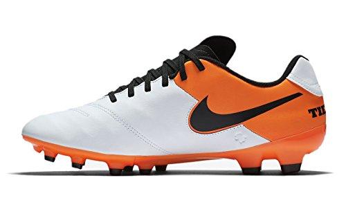 Nike Tiempo Genio - Scarpe da calcio da uomo, in pelle, colore: Bianco/Nero/Arancione totale, 7,5 A