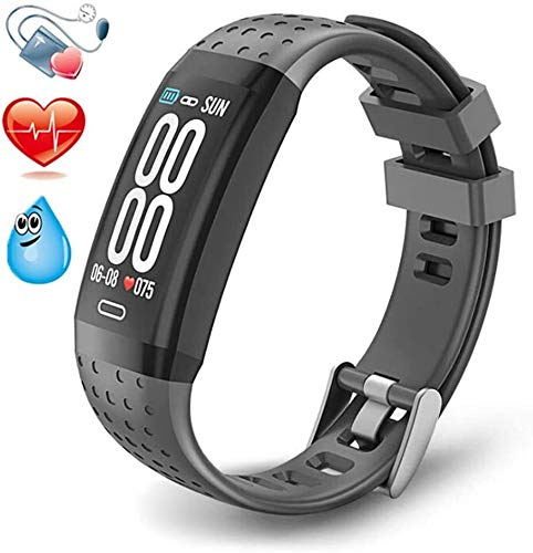 Hngyanp Smart-Armband, ECG + PPG Smart Watch mit Blutdruck, Herzfrequenz-Messgerät, Kalorien Pedometer Digital-Armbanduhr (Color : Grey)
