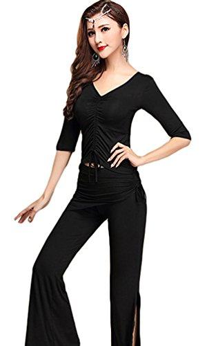 YiJee Donna Belly Dance Top Pantaloni Costume Danza del ventre con la sciarpa dell'anca XL Nero