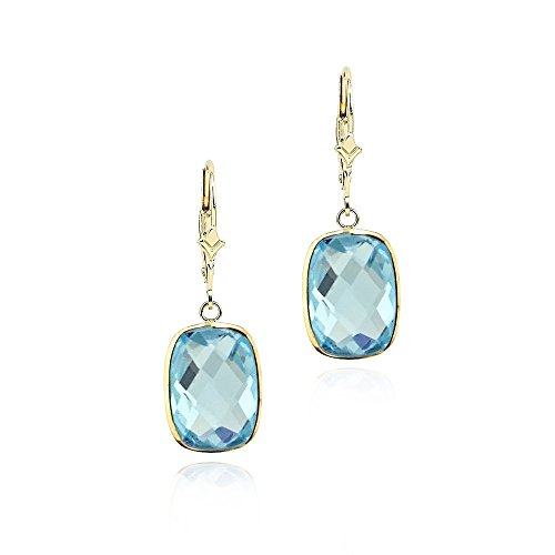 14K Yellow Gold Handmade Gemstone Earrings With Dangling Cushion Shape Blue Topaz