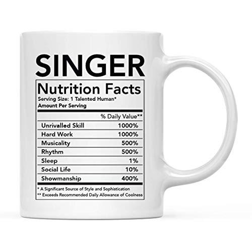 N\A Divertida Taza de cerámica para té y café, Regalo de Agradecimiento, información nutricional del Cantante, Paquete de 1, Novedad, Ideas para Regalos de cumpleaños y Navidad, compañero de Trabajo
