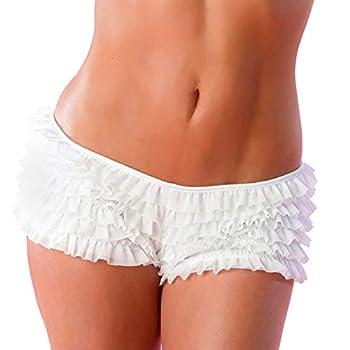 Velvet Kitten Sexy Boy Short Panties for Women with Ruffles and Bow  Medium/Large White