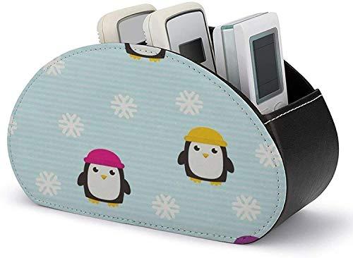 YLB Fernbedienungshalter PU-Leder Netter Pinguin Muster Multifunktionsaufbewahrungsbox Medienregler