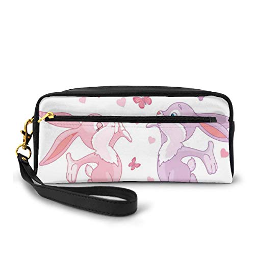Pencil Case Pen Bag Pouch Stationary,Valentine Bunnies Kissing in Air with Love Hearts and Butterflies Home Decor,Small Makeup Bag Coin Purse