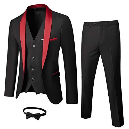 MY'S Mens 3-Piece Suit Shawl Lapel One Button Tuxedo Slim Fit Premium Dinner Jacket Vest Pants & Tie Set Red-Black