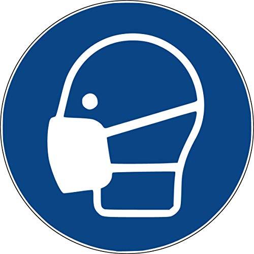 10 Aufkleber Maske benutzen Aufkleber Atemschutz 95mm vorgestanzt, selbstklebend, Mundmaske Maske, Gebotszeichen Warnzeichen Brücke M016 Mundschutz Aufkleber