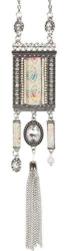 styleBREAKER Halskette Statement Kette im Ethno Style mit Strass, Kette, Perlen und Ethno Stoff, Damen 05030016, Farbe:Creme-Weiß