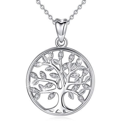 Baum des Lebens Halskette Damen 925 Sterling Silber Lebensbaum Anhänger mit Kette 46CM, CELESTIA Stammbaum Schmuck, Muttertag Geburtstag Jahrestag Freundschaft Geschenke für Sie