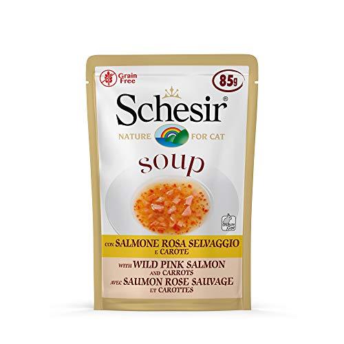 Schesir, Comida húmeda para Gatos Adultos, Sabor salmón Rosado Salvaje y Zanahorias en filetes en Salsa - Total 1,7 kg (20 Sobres x 85 gr)