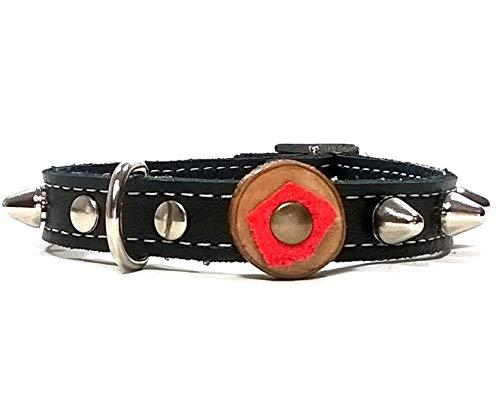 Superpipapo Hunde-Halsband, Schwarz Leder Hunde-Halsband mit Nieten, Oliven Holz und Rot, Design für Welpen Welpen, Chihuahuas und Kleine Hunde, 25 cm XXXS: Halsumfang 15-20 cm, Breit 13mm