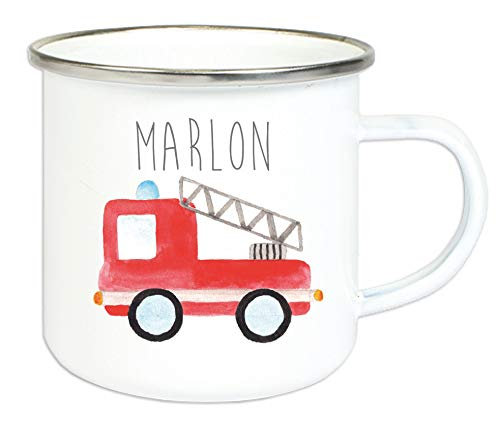 Emaillebecher für Kinder mit Wunschname Bedruckt/Tasse im Vintage Design mit Motiv und Namensdruck/Tasse 8 cm Höhe 300 ml Füllmenge (Feuerwehr)