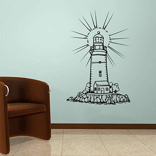 SLQUIET DIY Leuchtturm Wand Schablone Seascape Aufkleber Home Maritime Decor Bad Wasserdicht Dekorative Abziehbilder Kinderzimmer Poster Aufkleber Rot M 42x62 cm