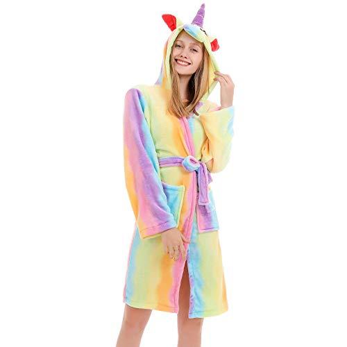 HGDS Erwachsene Tier Bad Robe Dick Flanell Nachthemden Nachtwäsche Frauen Männer Bademantel Bademantel Pyjama-Regenbogen_XL 171-182 cm