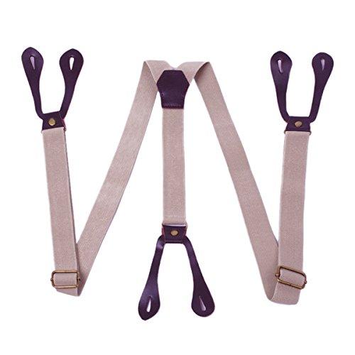 Panegy Unisex Y-Form Hosenträger Damen Herren 2.5cm Breit Elastisch Hosenträger mit 6 Knopfloch Längenverstellbar - Einfarbig Khaki