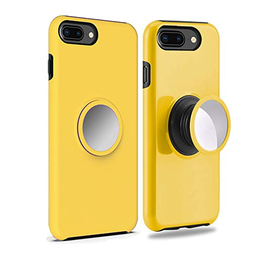 UPHIDO iPhone 8 Plus Case,7 Plus Case,6s Plus Case,6 Plus Case Tough Heavy Shock Dual Layers Protective Expanding Phone Pop Handle Stand and Grip Built-in Iron for Magnetic Mount Rugged Duty (Yellow)