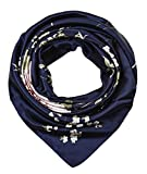 corciova 35' Large Women's Satin Square Silk Feeling Hair Scarf Wrap Headscarf Navy Floral Flowers Pattern