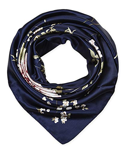 corciova 35quot Large Women#039s Satin Square Silk Feeling Hair Scarf Wrap Headscarf Navy Floral Flowers Pattern
