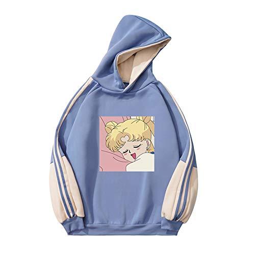 Sudadera con Capucha Estampada Sailor Moon, Sudadera con Capucha de Anime de Manga Larga para Mujeres Adolescentes