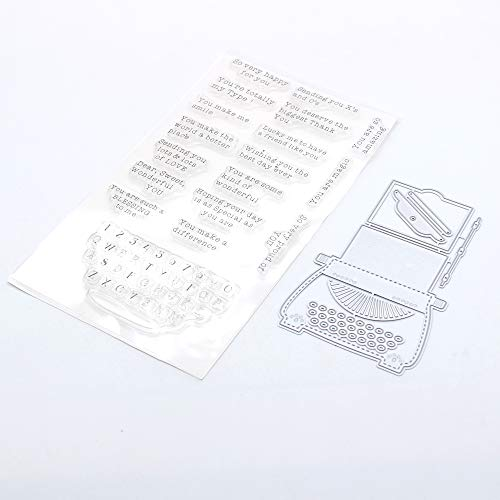 KSCRAFT Cute Typewriter Tag Stamp and Metal Cutting Dies for DIY Scrapbooking/Card Making/Kids Fun Decoration Supplies