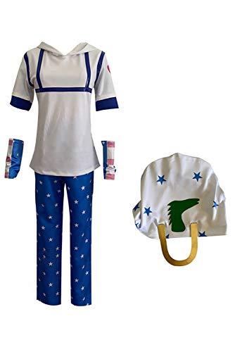Zhinina JoJo's Bizarre Adventure Cosplay Disfraz de Johnny Joestar Halloween Carnaval Camiseta con Capucha Pantalones Sombrero, M