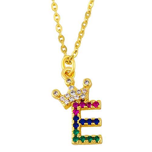 HUITAILANG Collares para Mujer Regalo, Alfabeto 26 AZ, Corona Color Circonita Oro Personalizado Collar Colgante, Moda Pareja Delicada Gargantilla, Cumpleaños Día De San Valentín Joyería, E