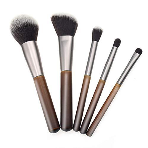 Pinceaux De Maquillage Professionnel, 5 Pcs Pinceaux De Maquillage Manche En Bambou Pinceau De Maquillage En Bois Massif Bambou Fard À Paupières Brosse Ensemble,Marron