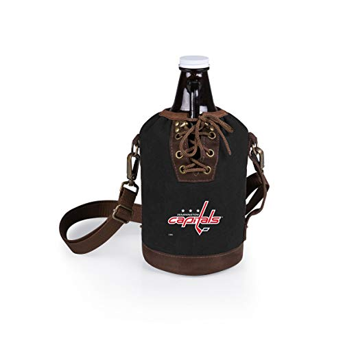 PICNIC TIME NHL Washington Capitals Black Canvas Lace-up Growler Tote with 64-Ounce Amber Glass Growler