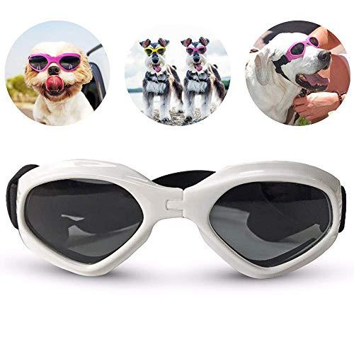 AcserGery Hunde Sonnenbrille Verstellbarer Riemen für UV-Sonnenbrillen Wasserdichter Schutz für kleine und mittlere Hunde (Weiß)