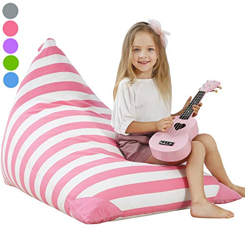 Aubliss Stuffed Animal Storage Bean Bag Chair Cover for Kids, Girls and Adults, Beanbag Cover Only, 23 Inch Long YKK Zipper, Premium Cotton Canvas, Xmas Gift Ideas(Pink Stripe)