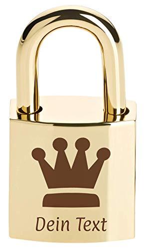 Liebesschloss Mini mit persönlicher Widmung selbst gestalten (Schloss mit individueller Gravur versehen, per Lasergravur, mit Schlüssel, personalisierbarer Text, ideal zum Valentinstag) (Gold)