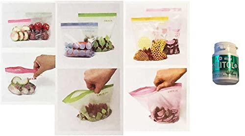 IKEA(イケア) 【セット品】 イースタッド ISTAD プラスチック袋 6サイズ 3箱セット (グリーン/ピンク60p ブルー/キミドリ50p パープル/黄30p ) 【チャック ジッパー付】+ [トクホ]ロッテ キシリトール ガム(ライムミント)スマ