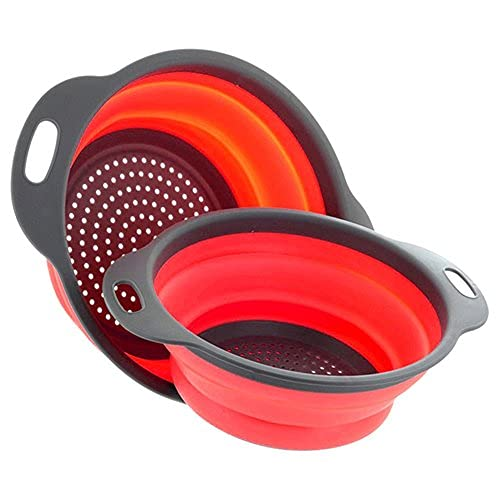 BaGARLIC PRESS Lot de 2 Passoire Pliable Silicone, Diealles Pliable Passoire Pliante Cuisine Fruit Basket Panier de Filtre Collapsible Colander Set Cuisine Usage Domestique