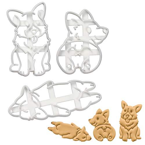 Set of 3 Corgi cookie cutters (Designs: Corgi Butt, Happy Corgi and Sleepy Corgi), 3 pieces - Bakerlogy