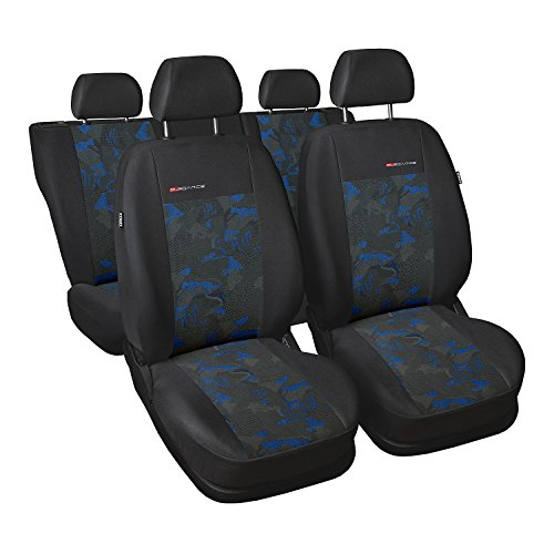 gsmarkt | Universal 5-Sitze Blau | Sitzbezüge Komplettset Sitzbezug für Auto Sitzschoner Set Schonbezüge Autositz Autositzbezüge Sitzauflagen Sitzschutz Elegance