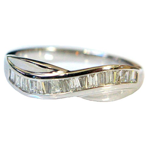 0.50 Carat Baguette Diamond Half Eternity Ring in Heavy White Gold Size J