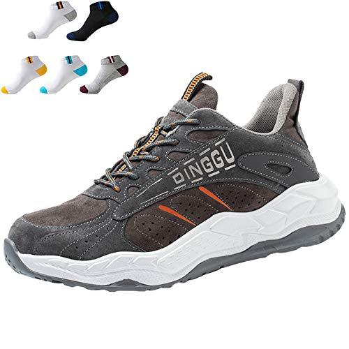 Willsky Zapatos De Seguridad Para Hombres Zapatos De Trabajo Ligeros Con Puntera De Acero Zapatillas De Deporte Industriales Transpirables Con 5 Pares De Calcetines,Gris,40EU