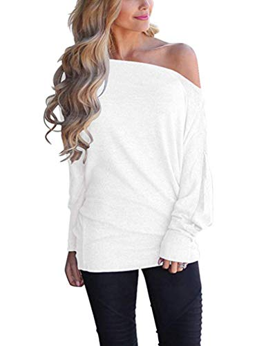 Poetsky Women's Off Shoulder Tops Casual Loose Shirt Batwing Sleeve Tunics Blouse (S, White)