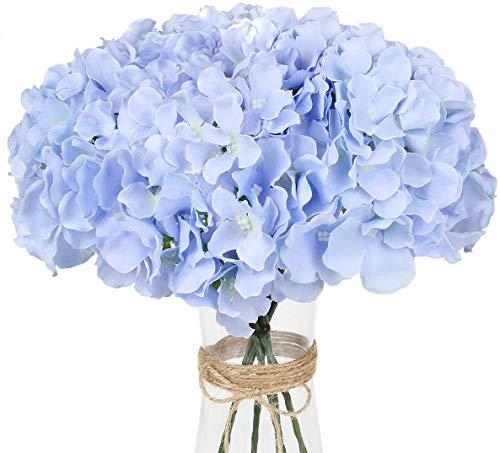 Decpro 12 Piezas de hortensias Artificiales con Tallos, 54 pétalos de hortensias de Seda realistas, Flores Falsas para Bodas, oficinas, Fiestas, cafés, decoración, Centro de Mesa(Azul Claro)