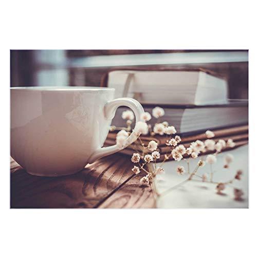 banjado Glas Küchenrückwand selbstklebend in Verschiedenen Größen | Spritzschutz mit Motiv Lesestunde | Memoboard mit 4 Magneten und Stift | Glasbild beschreibbar ohne Bohren | Komplettset 60x90cm